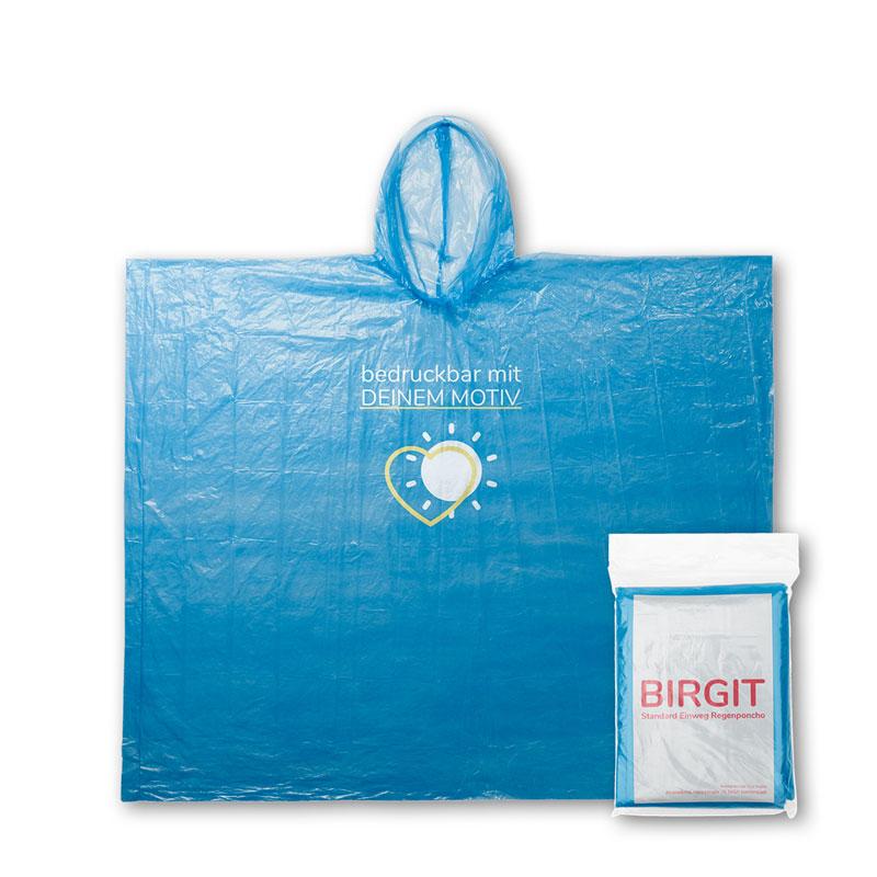 Blauer Einwegregenponcho mit Druckmotiv und Verpackung mit Flyer Einleger