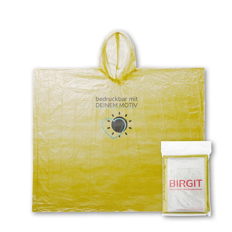 Gelber Einwegregenponcho mit Druckmotiv und Verpackung mit Flyer Einleger