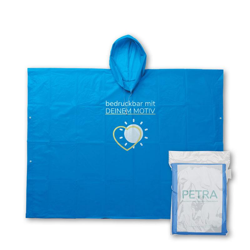 Blauer Mehrweg Regenponcho mit individuellem Druck und Verpackung
