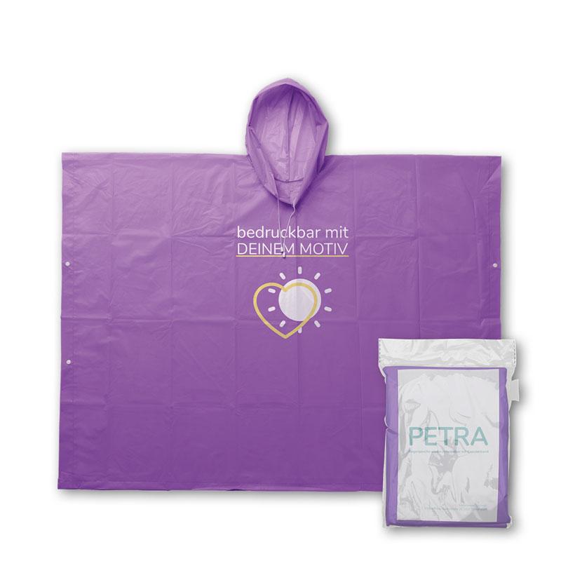 Lila Mehrweg Regenponcho mit individuellem Druck und Verpackung