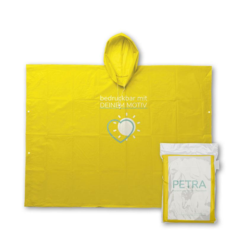 Gelber Mehrweg Regenponcho mit individuellem Druck und Verpackung