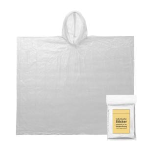 Regenponcho transparent mit Sticker auf Verpackung